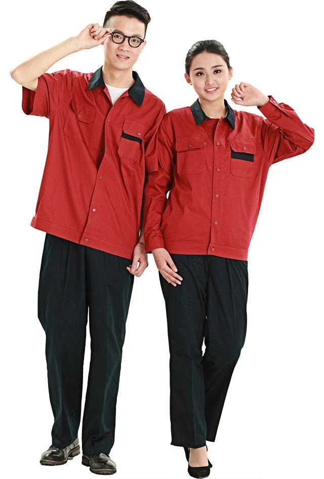 洪瑞 HR-823款纯棉拼色短袖工作服 劳保服 工装