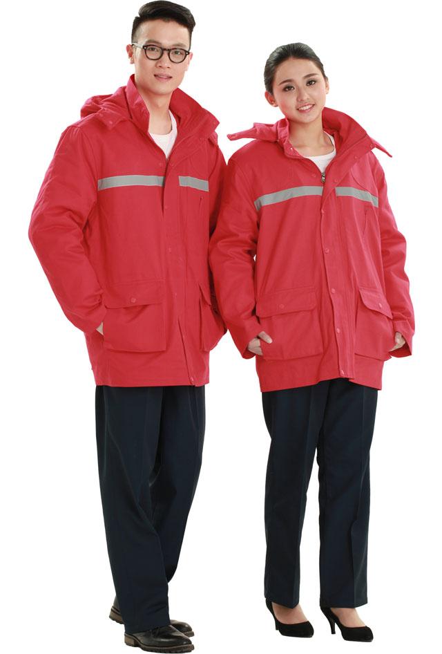 洪瑞 HR-998款大红纯棉中长棉衣工作服,劳保服,工装,现货