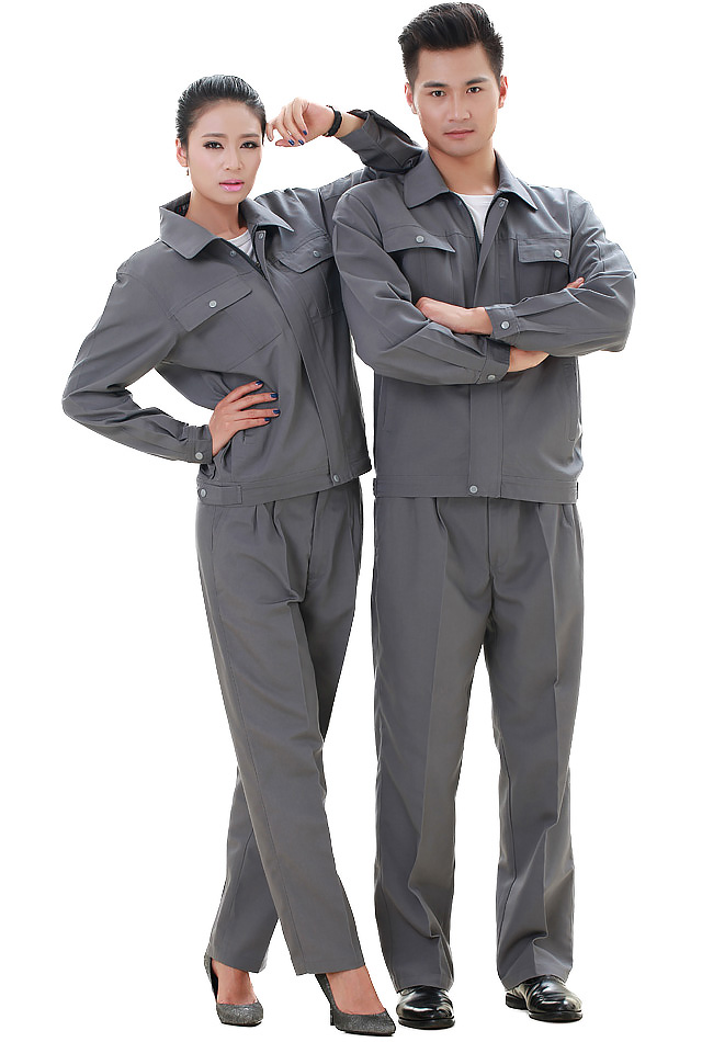 洪瑞 KG-302款涤棉帆布铁灰单层茄克工作服 劳保服 工装