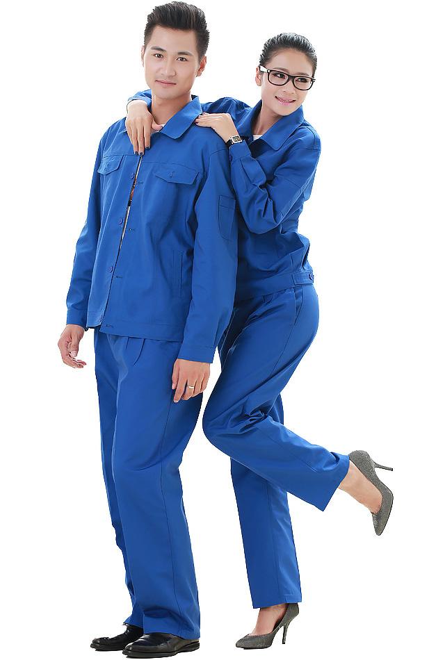 洪瑞 KG-306款精格服饰 涤棉帆布艳蓝单层茄克工作服,劳保服,工装,现货