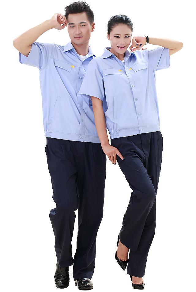 洪瑞 KG-309款粉蓝精格服饰 纱斜粉蓝短袖工作服,劳保服,工装,现货