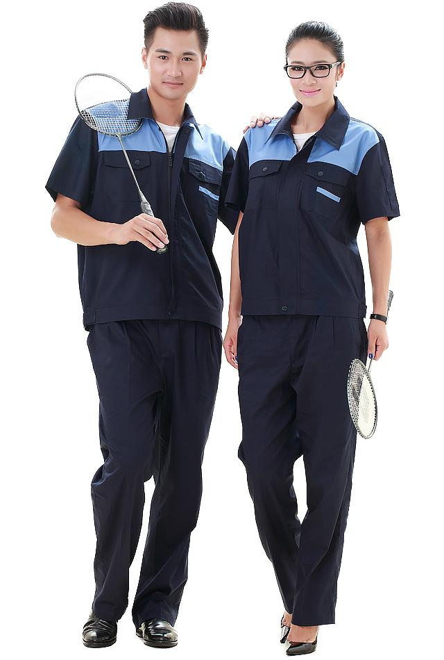 洪瑞 KG-312款纱斜藏蓝拼湖蓝短袖工作服 劳保服 工装
