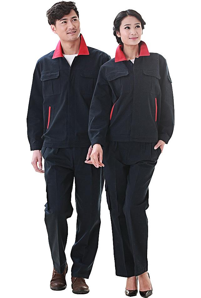 洪瑞 KG-316款藏蓝拼大红精格服饰 帆布拼色单层茄克工作服,劳保服,工装,现货