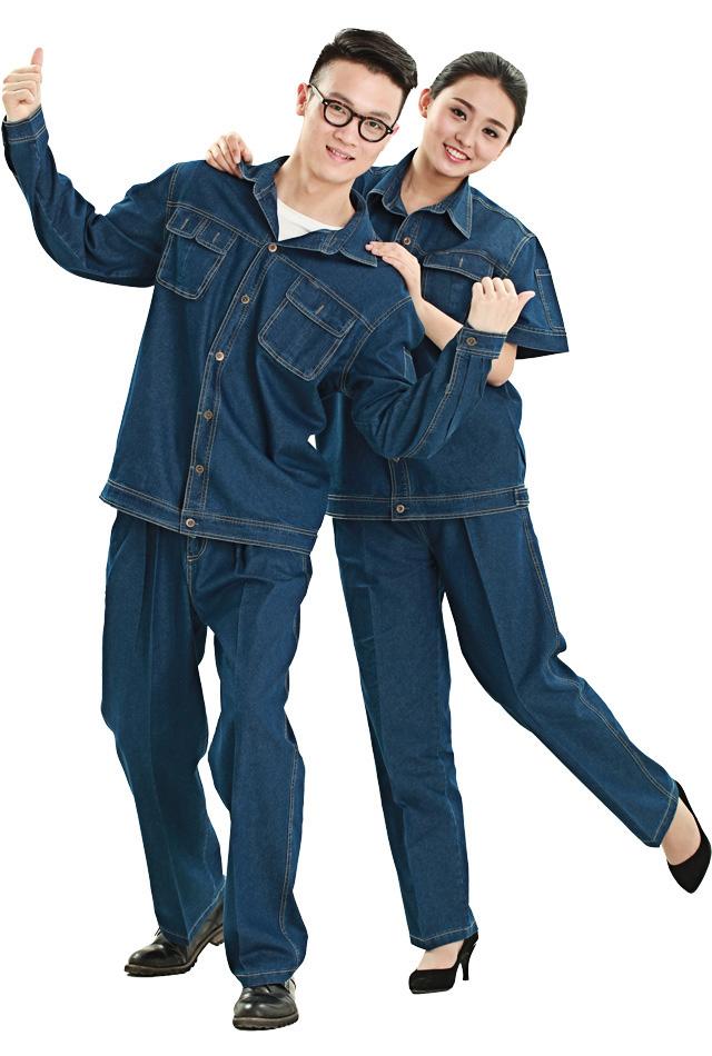 洪瑞 HR-619款纯棉精梳棉长袖、短袖套装工作服 劳保服 工装